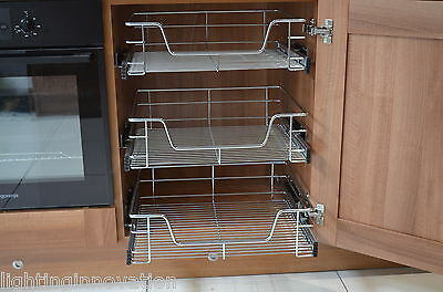 Pull out wire baskets kitchen cabinet larder cupboards 300 for 800 kitchen drawer unit