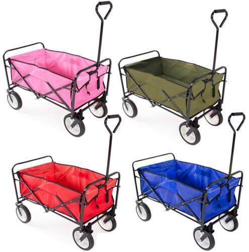 Heavy Duty Folding Garden Trolley Cart Wagon 4 Wheel Pull