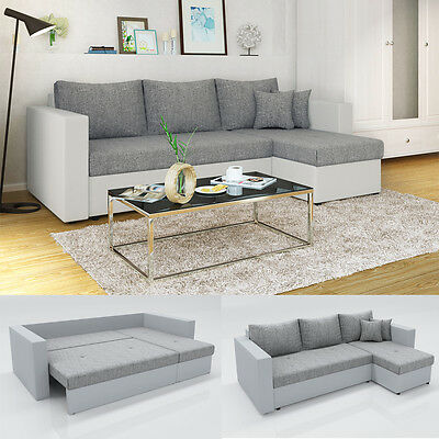 vicco ecksofa mit schlaffunktion wei grau couch. Black Bedroom Furniture Sets. Home Design Ideas