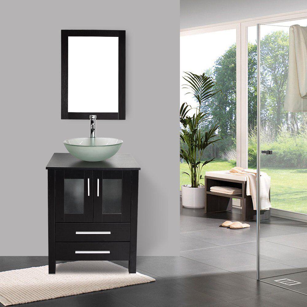 Bathroom Cabinet 24 Vanity Round Basin Glass Vessel Sink