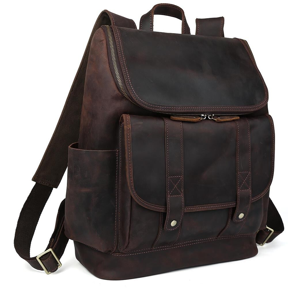 Men S Real Leather Backpack 15 Quot Laptop Bag Large Hiking