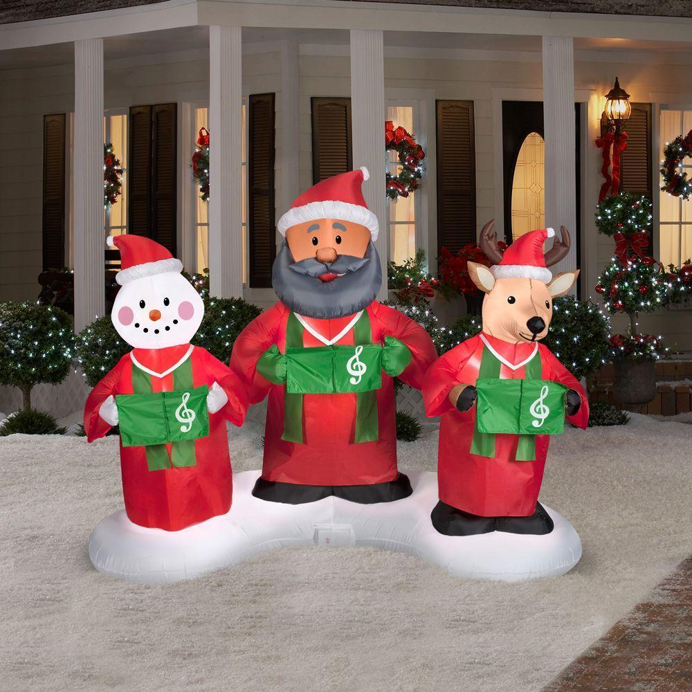 Ft animated inflatable santa snowman reindeer gospel
