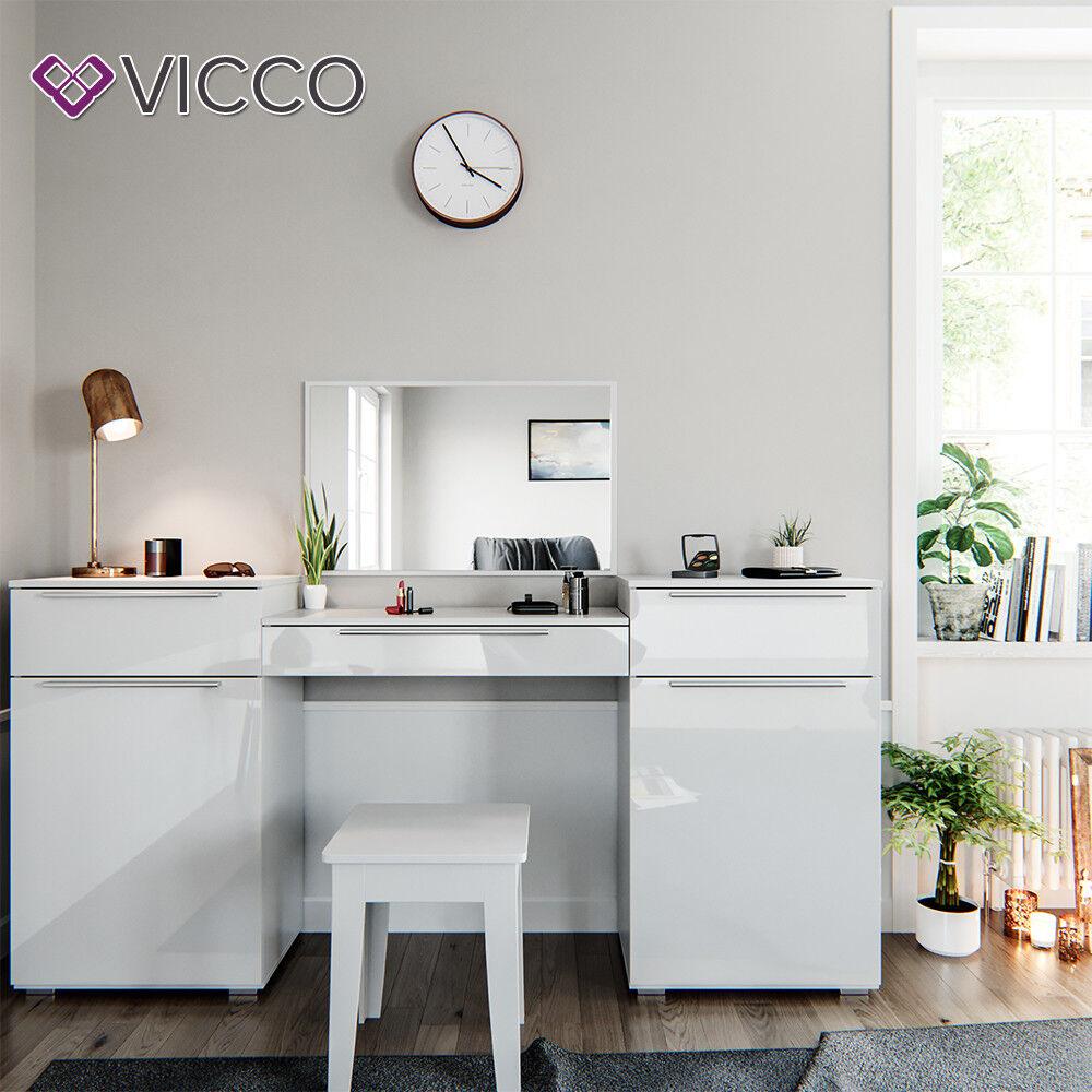 vicco frisiertisch lilli wei hochglanz schminktisch mit spiegel kosmetik set schminktische. Black Bedroom Furniture Sets. Home Design Ideas