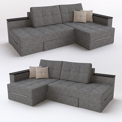 ecksofa mit schlaffunktion 240 x 160 cm grau sofa couch eckcouch schlafcouch sofas sofas. Black Bedroom Furniture Sets. Home Design Ideas