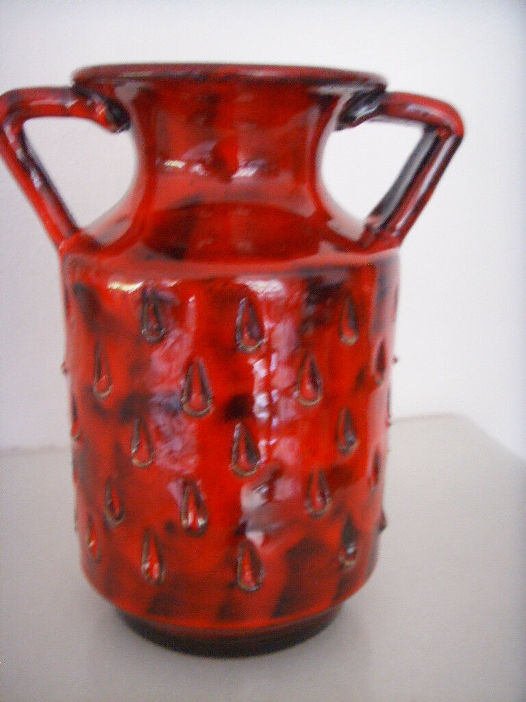 relief keramik vase aus italien 60 s alla moda fratelli fanciullacci italienische majolika. Black Bedroom Furniture Sets. Home Design Ideas