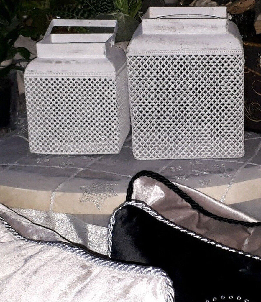Windlicht laterne wei metall mit glaseinsatz lundhaus for Windlicht laterne