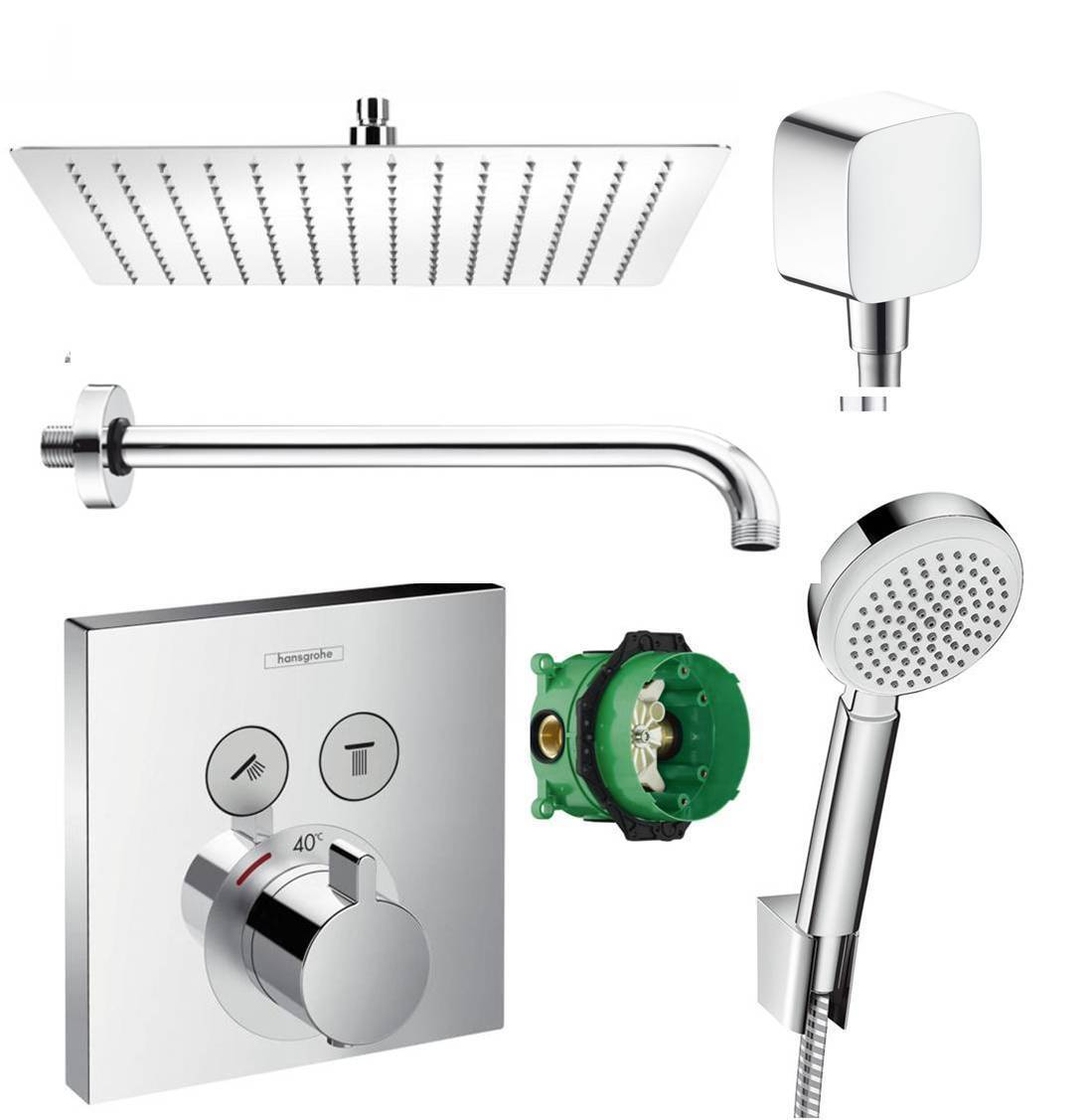 hansgrohe shower select thermostat unterputz duscharmaturenset duschteller 30 cm. Black Bedroom Furniture Sets. Home Design Ideas