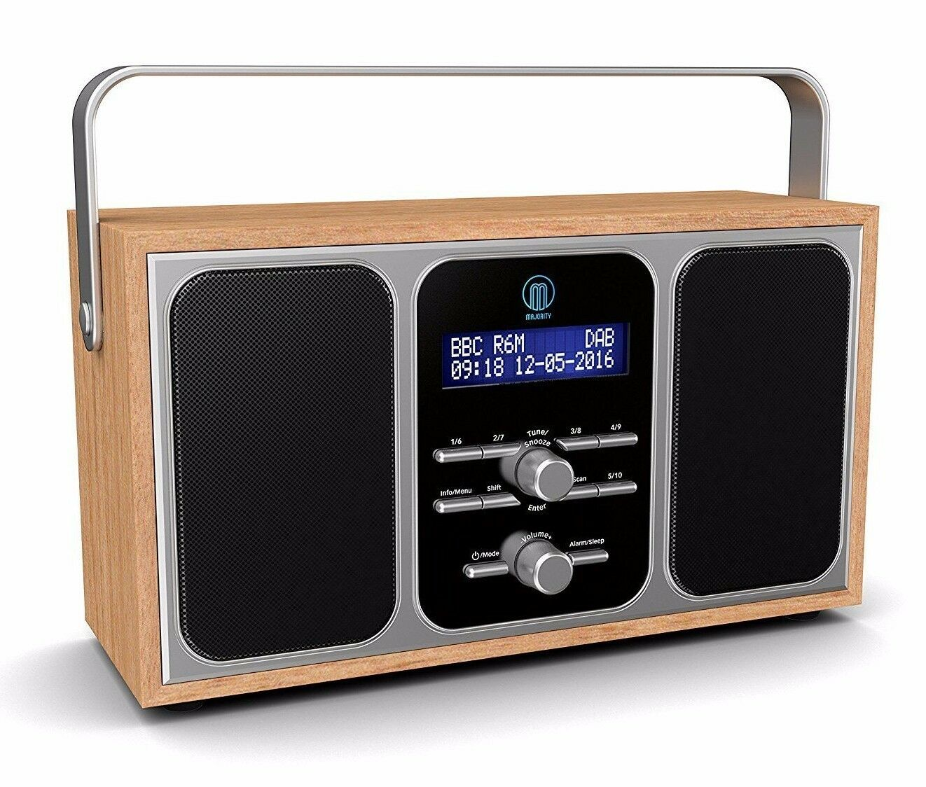 majority girton stereo dab dab fm digital portable radio alarm clock wooden portable radios. Black Bedroom Furniture Sets. Home Design Ideas