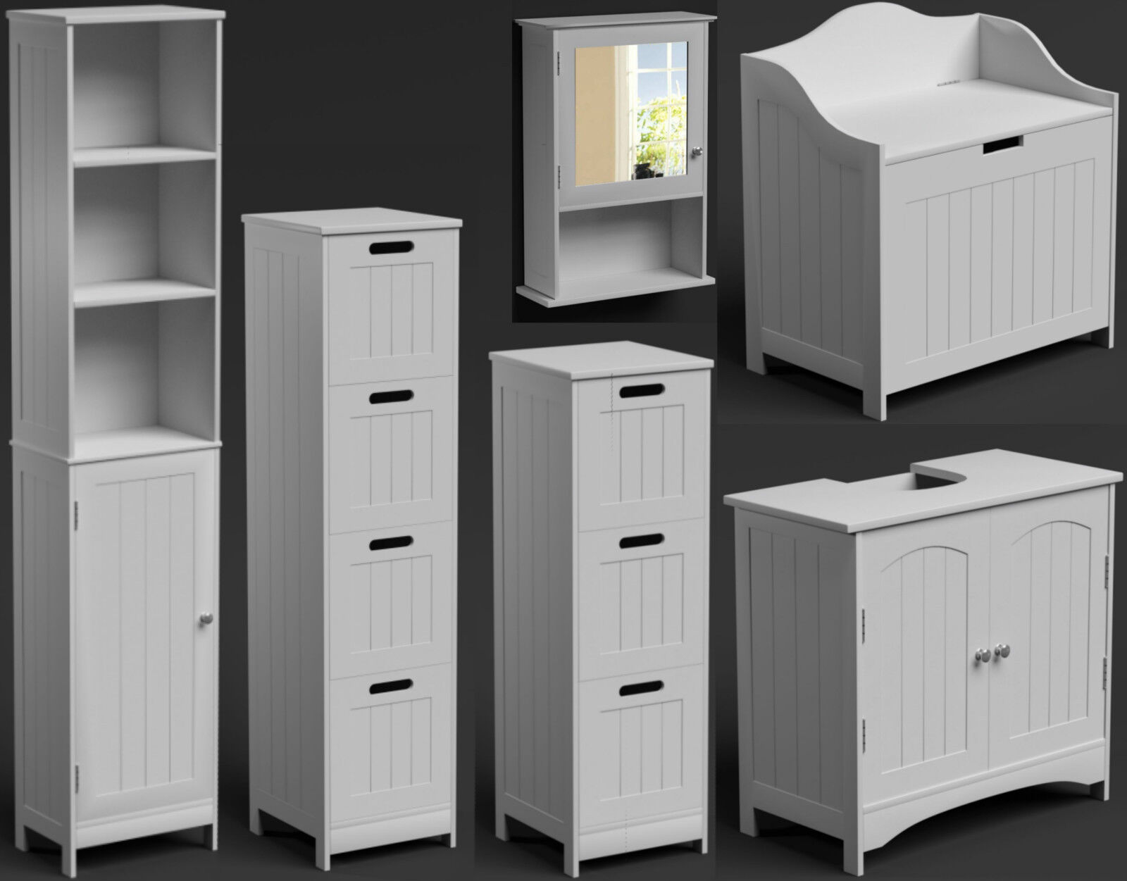 Bathroom Furniture Suite Set White Free Standing Storage Cupboard Cabinet Unit Cabinets