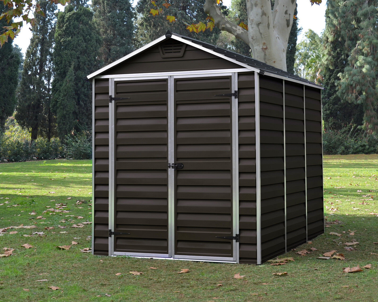 Palram skylight garden shed new dark brown in 6 sizes with for Garden shed sizes