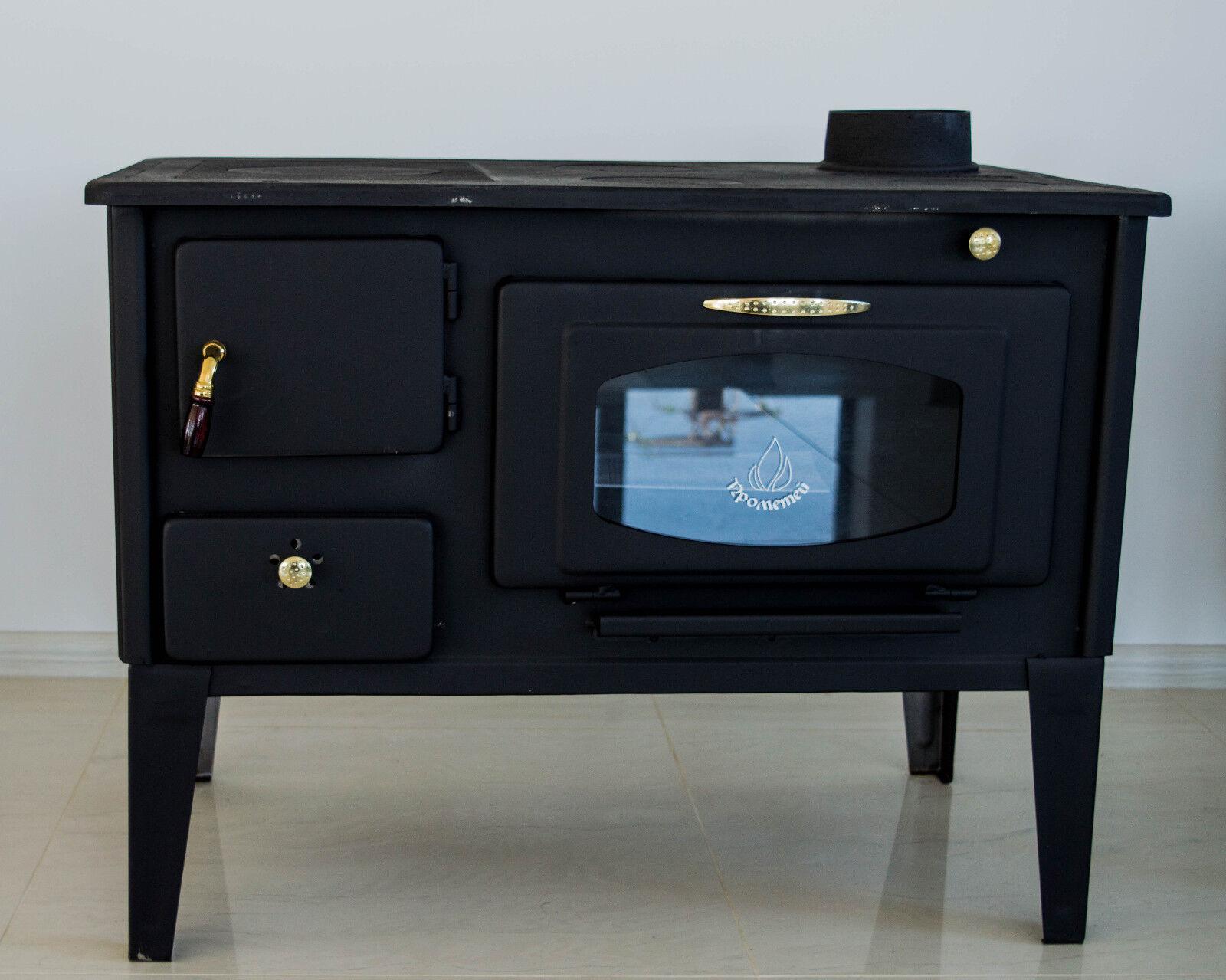 Stufa a legna cucinare stufa forno con vetro prometey 7 kw ghisa top nar tipo termostufe - Stufa a legna per cucinare ...