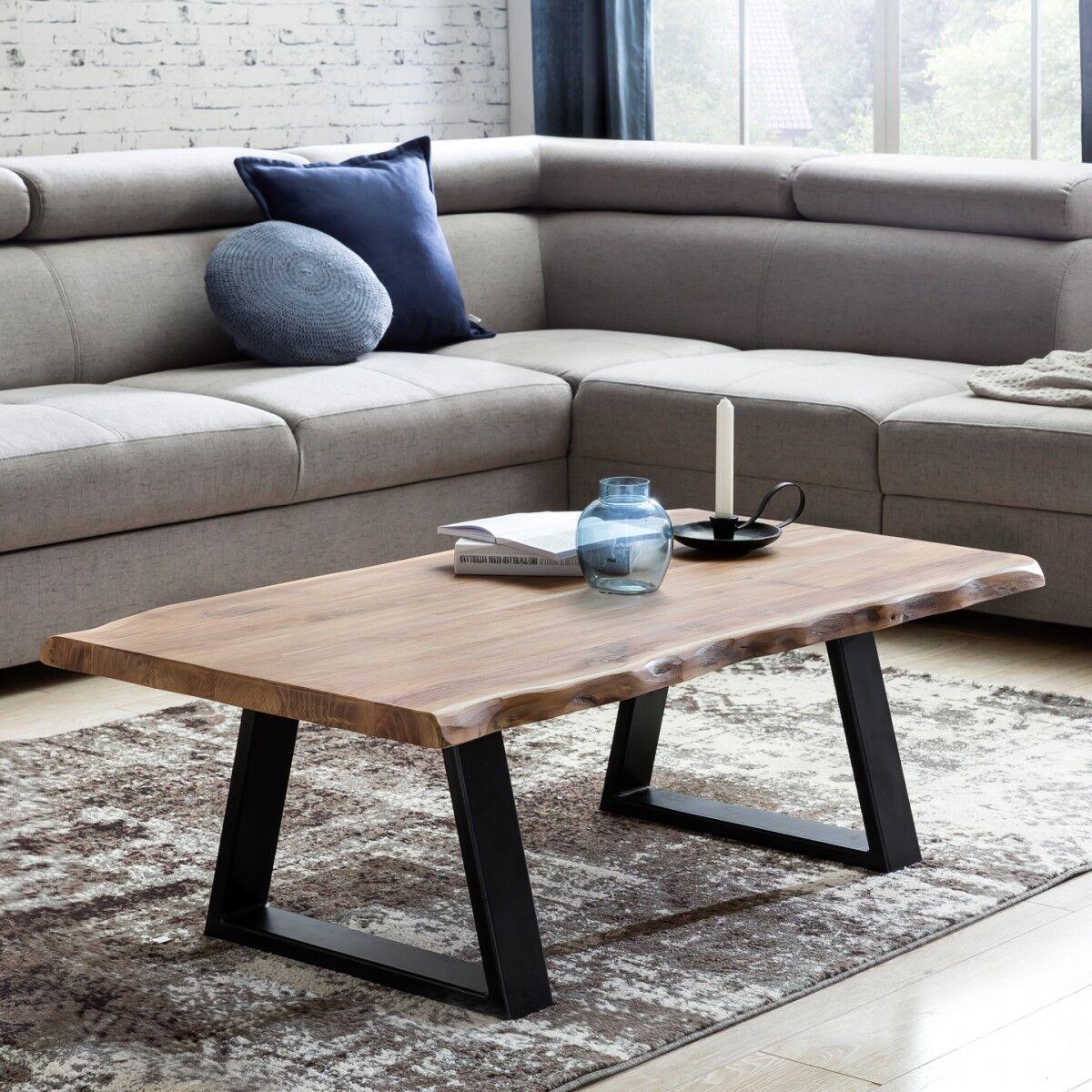 finebuy couchtisch massivholz akazie 115 x 60 cm baumstamm. Black Bedroom Furniture Sets. Home Design Ideas