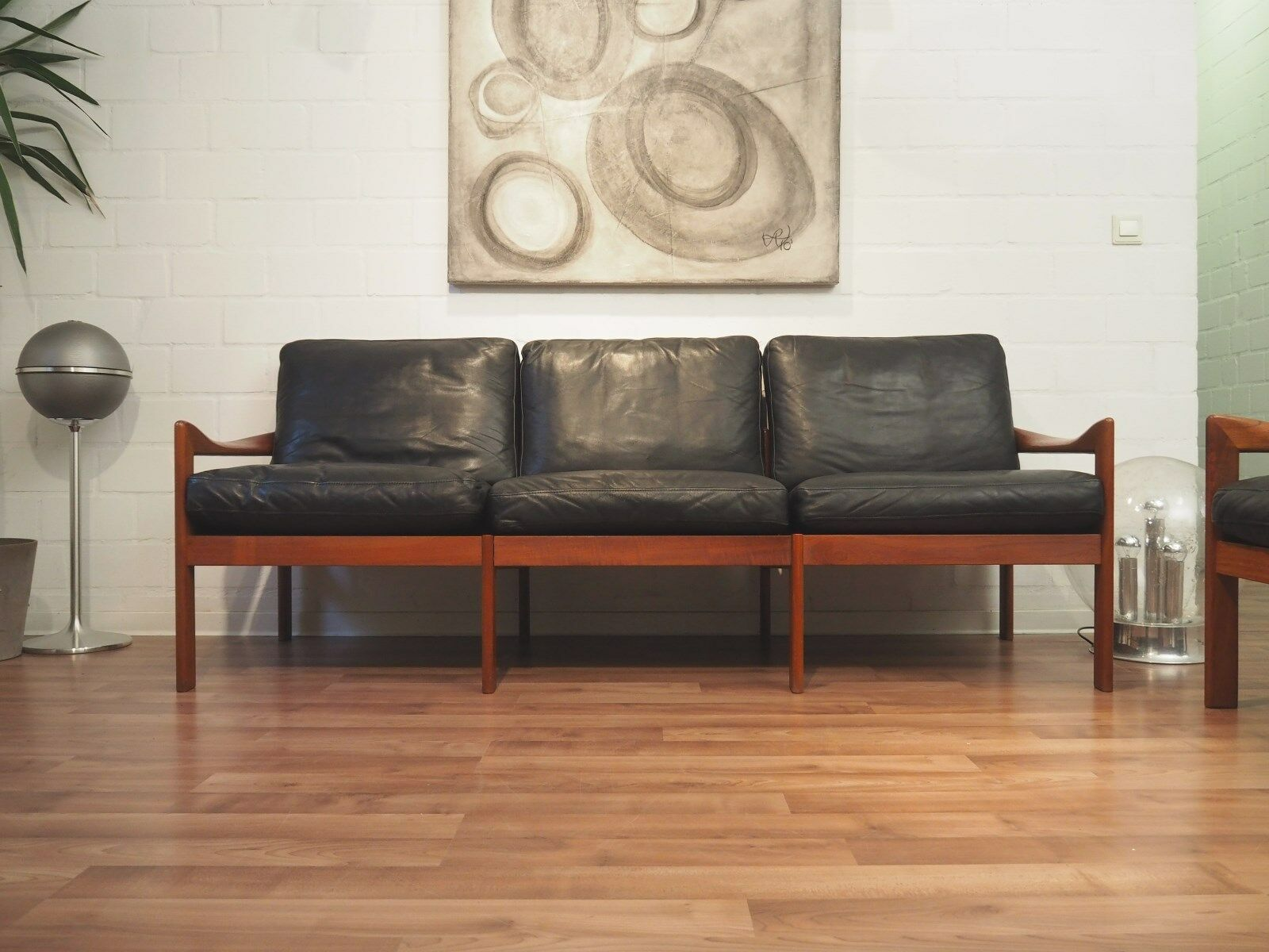 60er danish design illum wikkelso teak leder sofa 2x for Sofa 60er stil