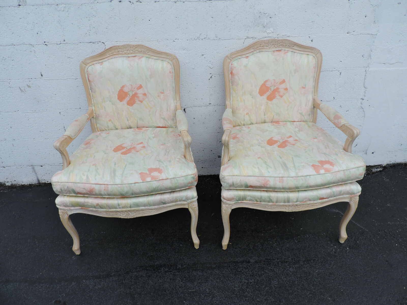 French pair of vintage wide living room side by side for Pair of chairs for living room