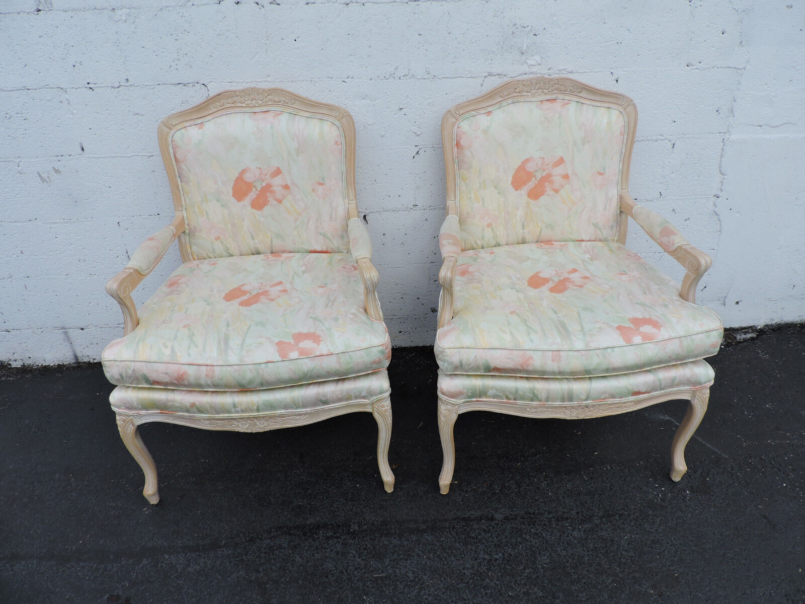 French Pair Of Vintage Wide Living Room Side By Side Chairs 7544 Post 1950 Chairs