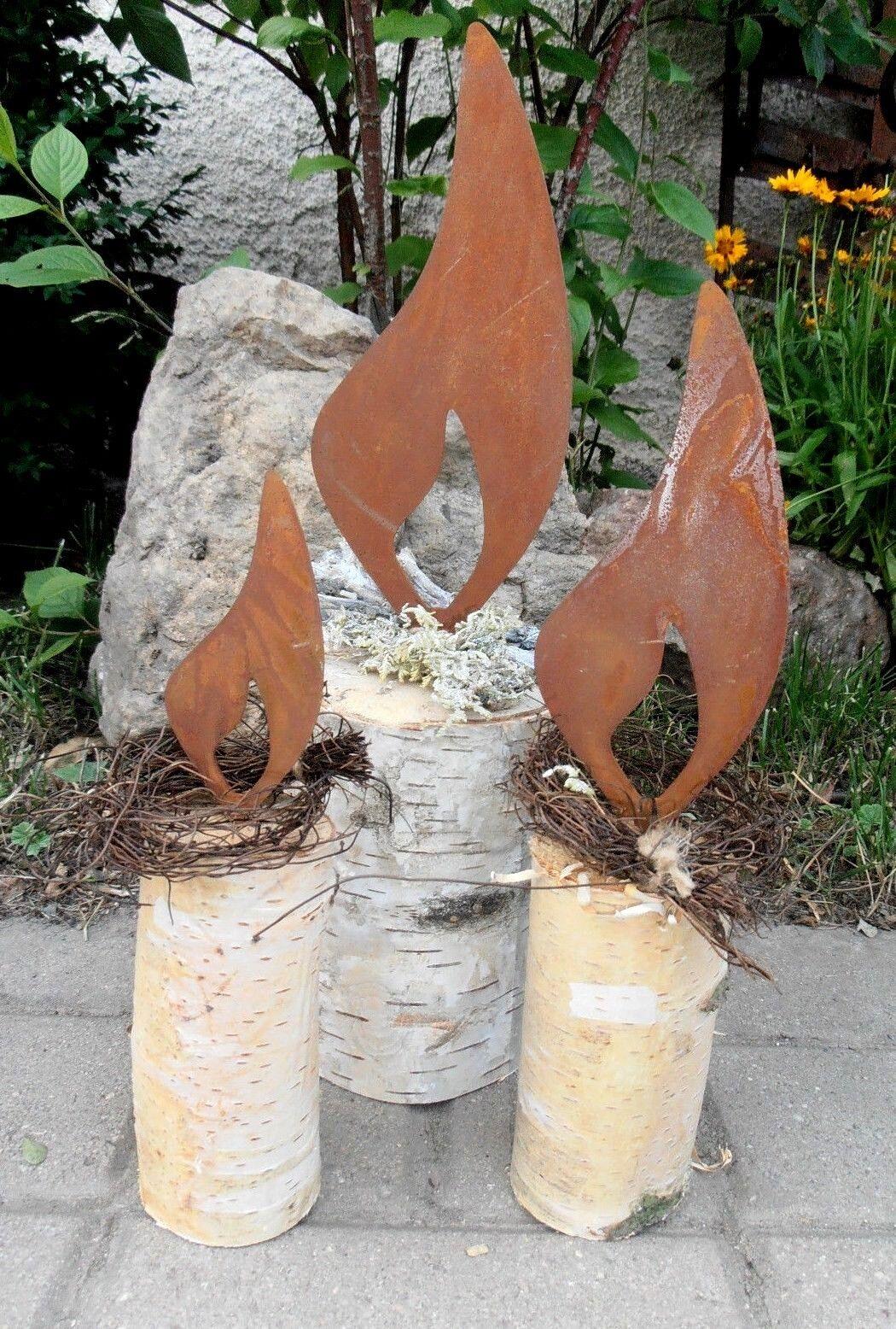 3 edelrost flammen mit dorn set metall garten kerze advent for Edelrost skulpturen garten