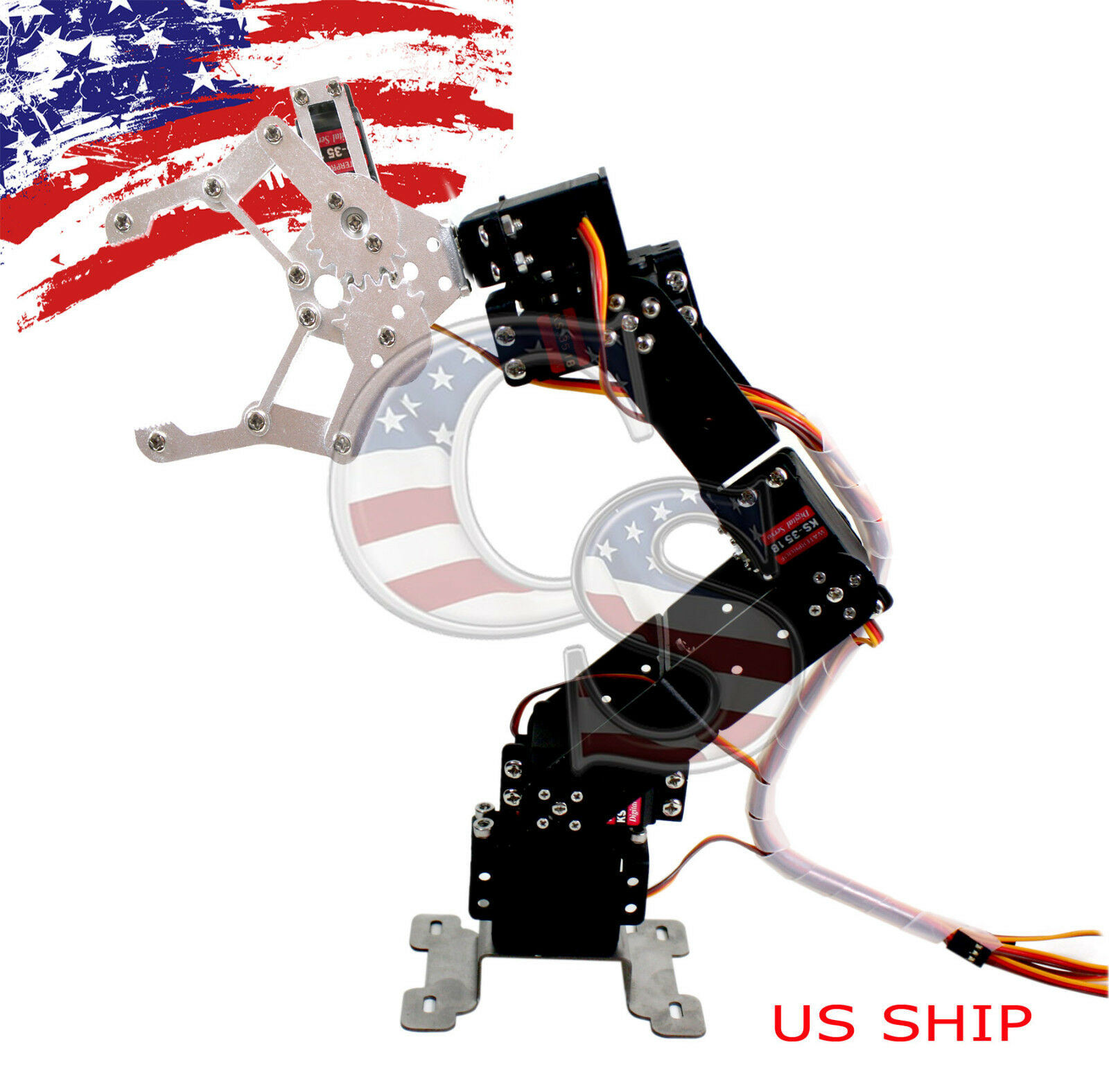 R4 6axis fully assembled mechanical robotic arm clamp claw for Robotic motors or special motors