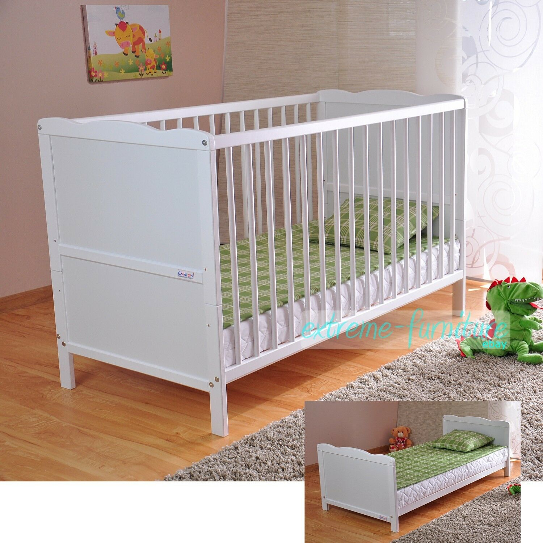 Wooden Baby Cot Bed & Deluxe Aloe Vera Mattress Converts ...