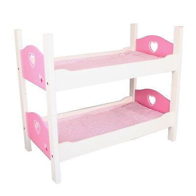etagenbett holz wei pink puppenbett 2 tlg stapelbett puppen bett mit zubeh r m bel. Black Bedroom Furniture Sets. Home Design Ideas