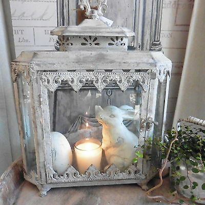 shabby chic gro e laterne metall auf l wenf chen 40 cm neu vintage look kerzenst nder. Black Bedroom Furniture Sets. Home Design Ideas