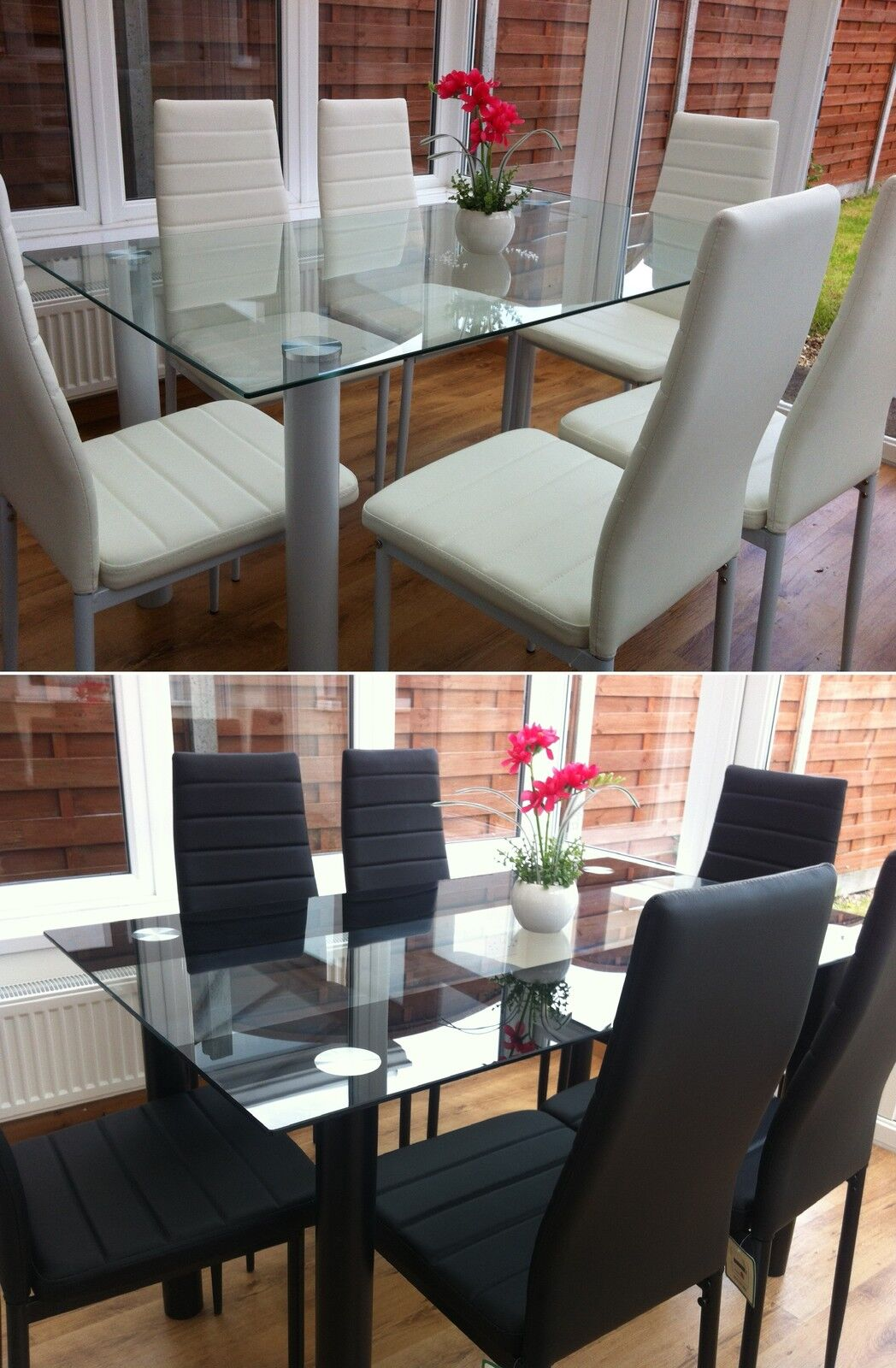 Stunning glass dining table set and with 4 or 6 faux for Black leather dining room chairs