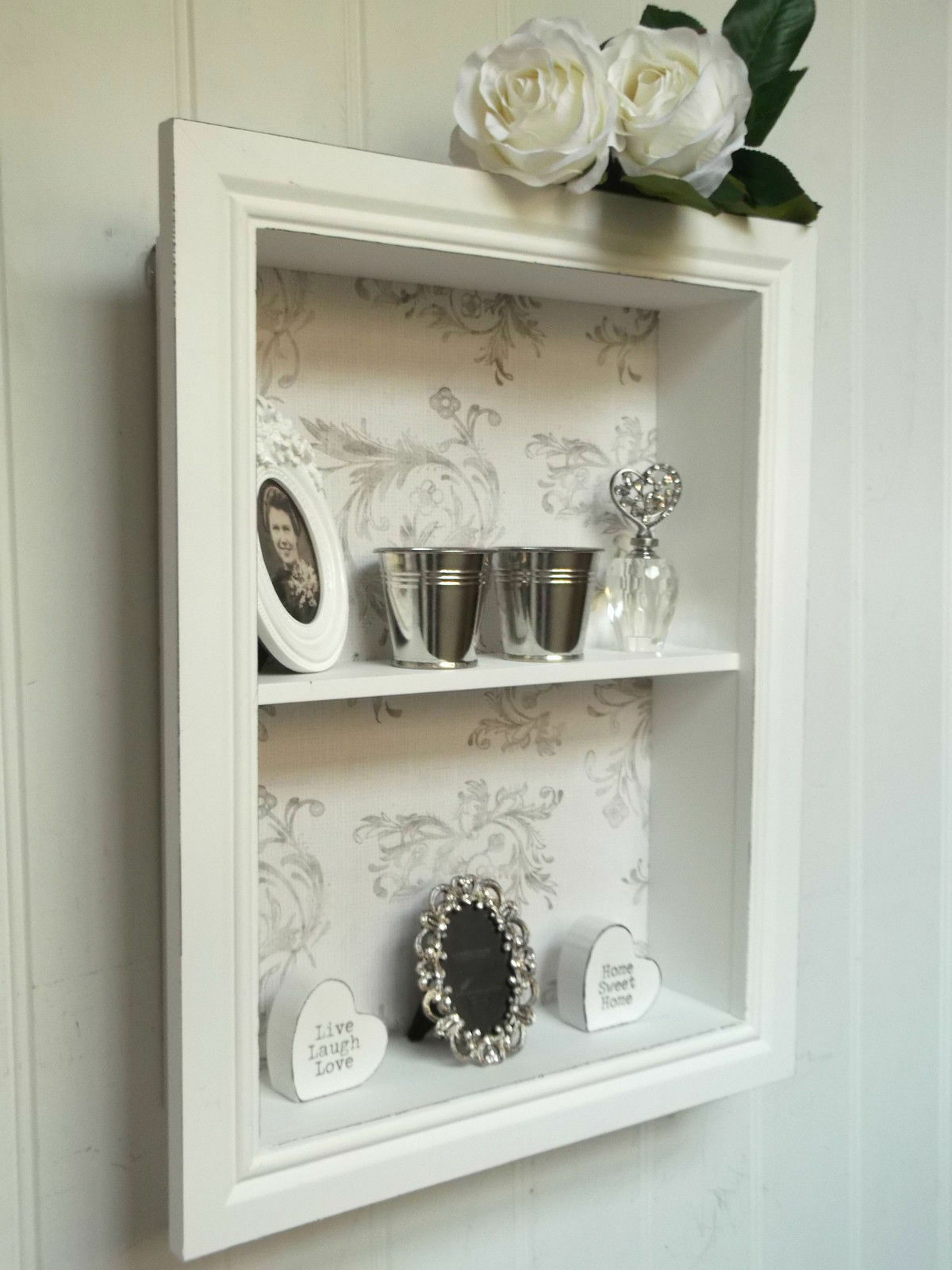 shabby chic wall unit shelf storage cupboard display cabinet french vintage new cabinets. Black Bedroom Furniture Sets. Home Design Ideas