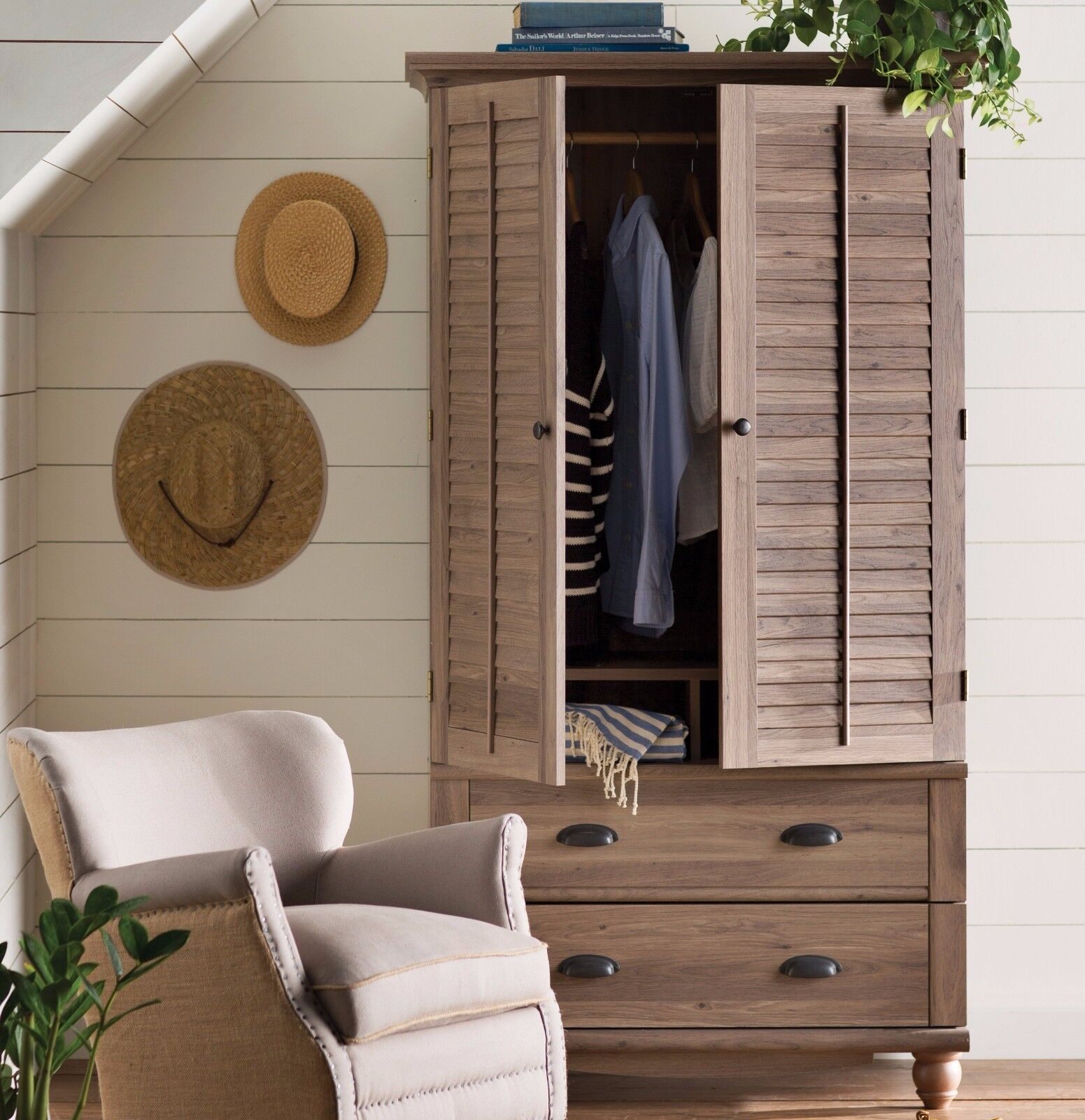 wardrobe armoire closet storage cabinet tall clothes. Black Bedroom Furniture Sets. Home Design Ideas