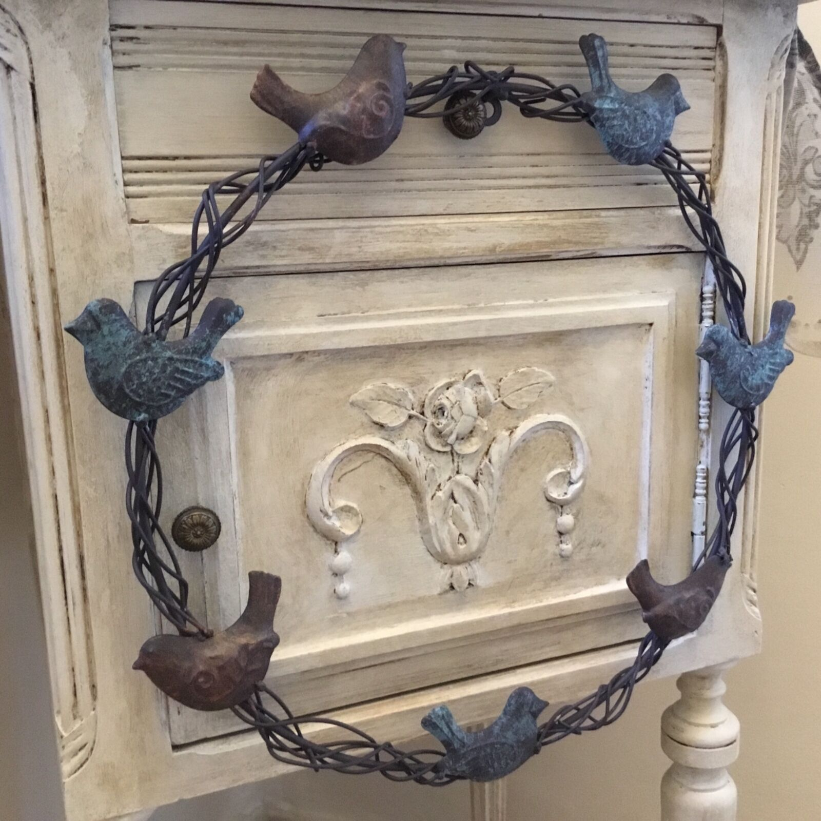 Hostess Gift Ideas Shabby Chic Metal Wreath Birds Vintage French Country