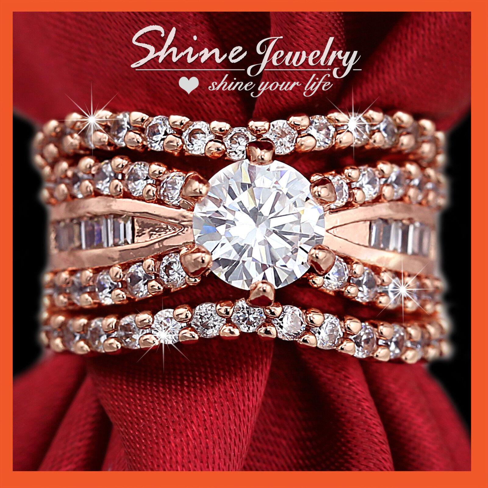 K rose gold gf solitaire lab diamond luxury wedding