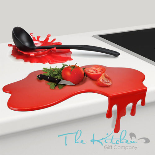 Splash Spoon Rest Chopping Board Novelty Red Kitchen
