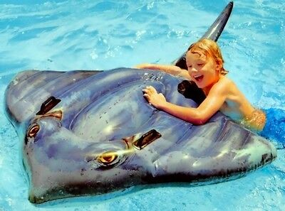 Giant 6ft Inflatable Stingray Realistic Pool Ride On Toy Kids Beach Water Float Floats