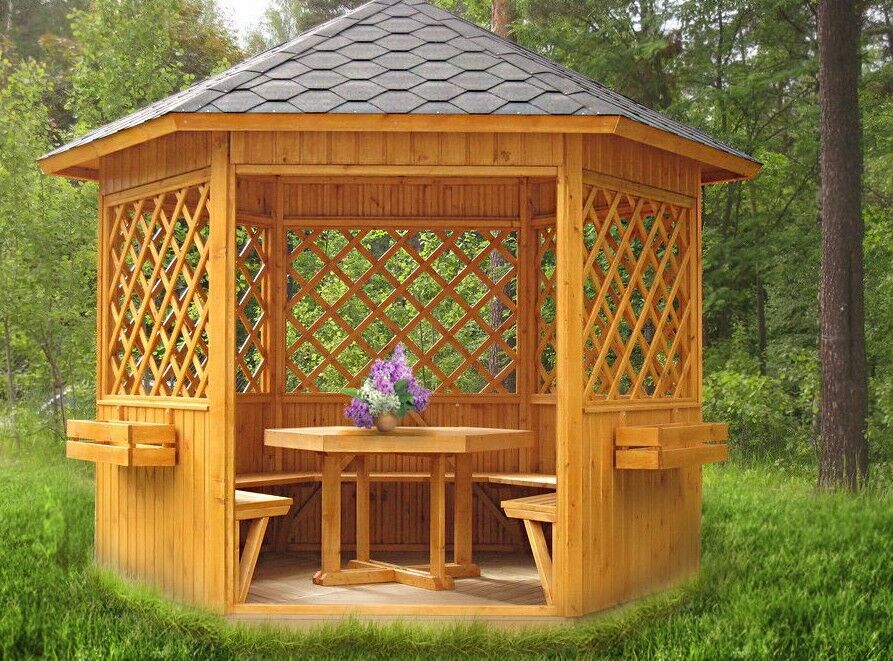 garten pavillon massivholz holzst rke 90 mm pavillons gartenbauten sonnenschutz. Black Bedroom Furniture Sets. Home Design Ideas