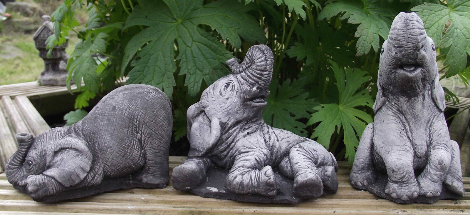 The small elephant set 3 piece hand cast stone garden for Game of thrones garden ornaments