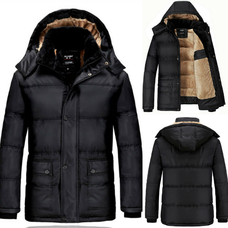 herren winterjacke baumwolle mantel daunen jacke w rmejacke wintermantel schwarz jacken. Black Bedroom Furniture Sets. Home Design Ideas