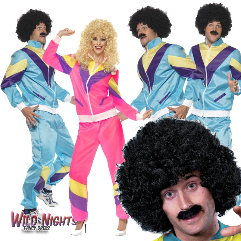 80s Scouser Shell Suit Fancy Dress Mens Ladies Tracksuit Costume