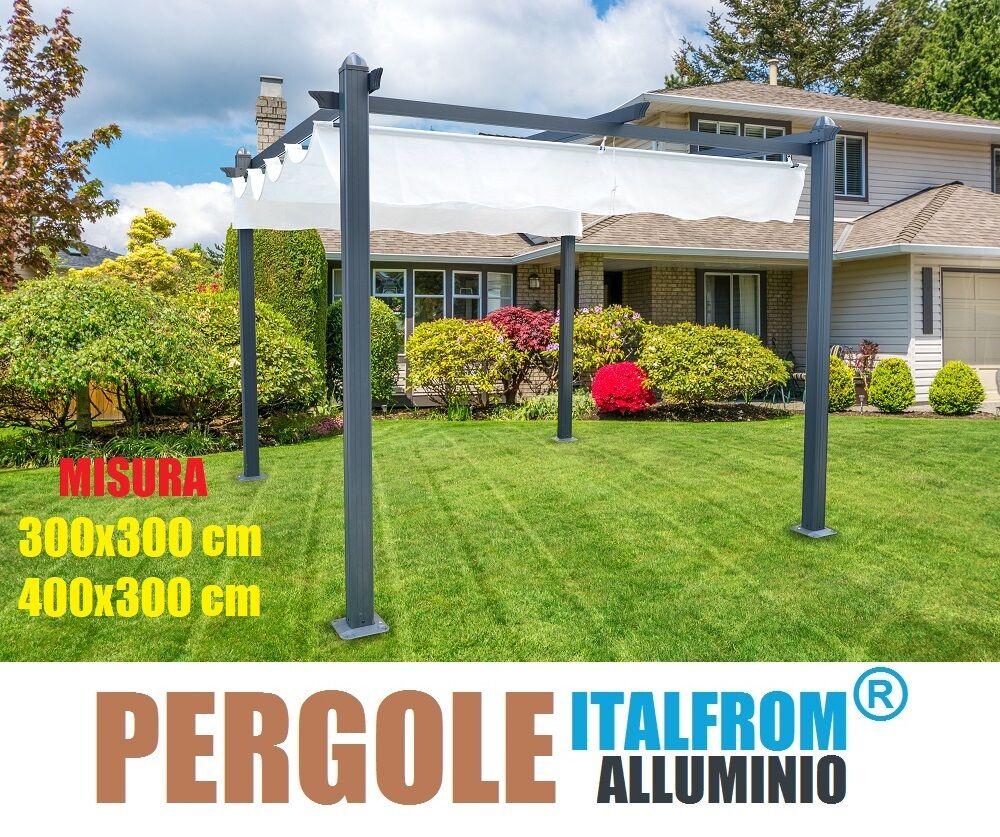 Gazebo perandarela struttura in alluminio telo retrattile for Arredo da giardino in alluminio