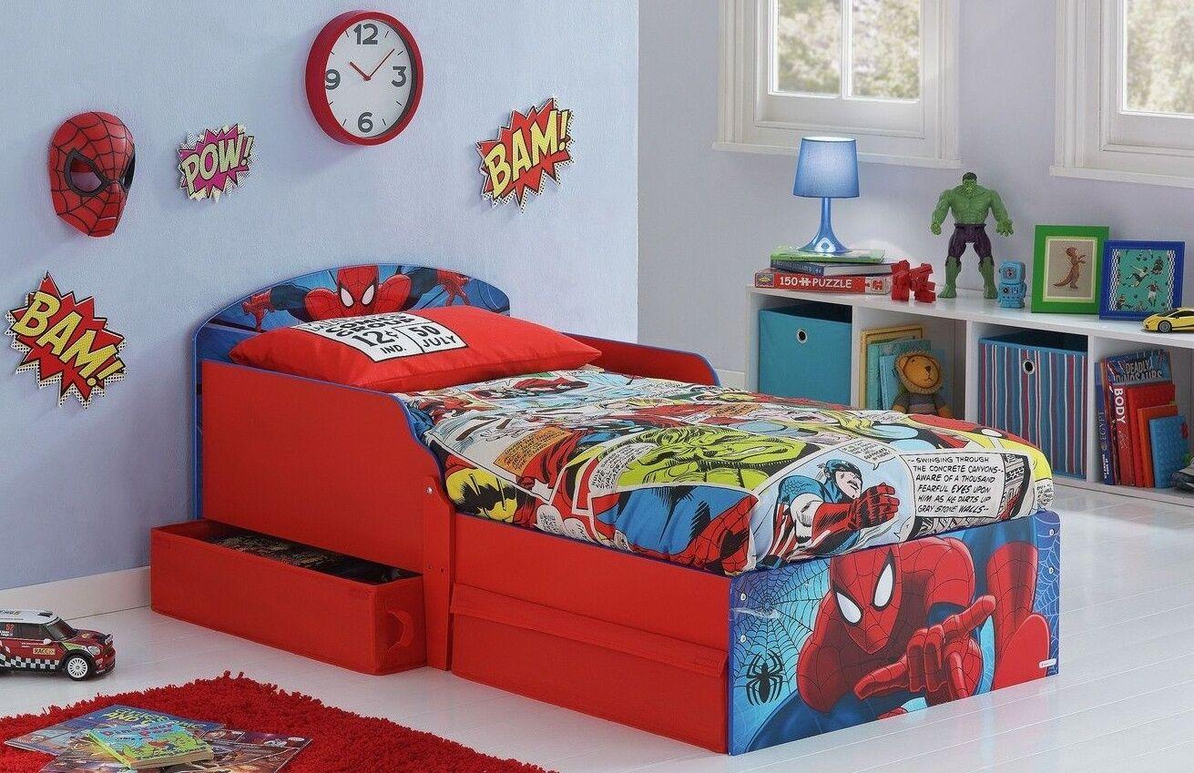 Picture of: Sleeper Toddler Bed Drawers Spiderman Kids Bunk Beds Disney Children Furniture Zeppy Io