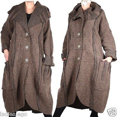 damen wolle mantel trench coat lagenlook winter bergang 56 4xl beige braun neu jacken m ntel. Black Bedroom Furniture Sets. Home Design Ideas