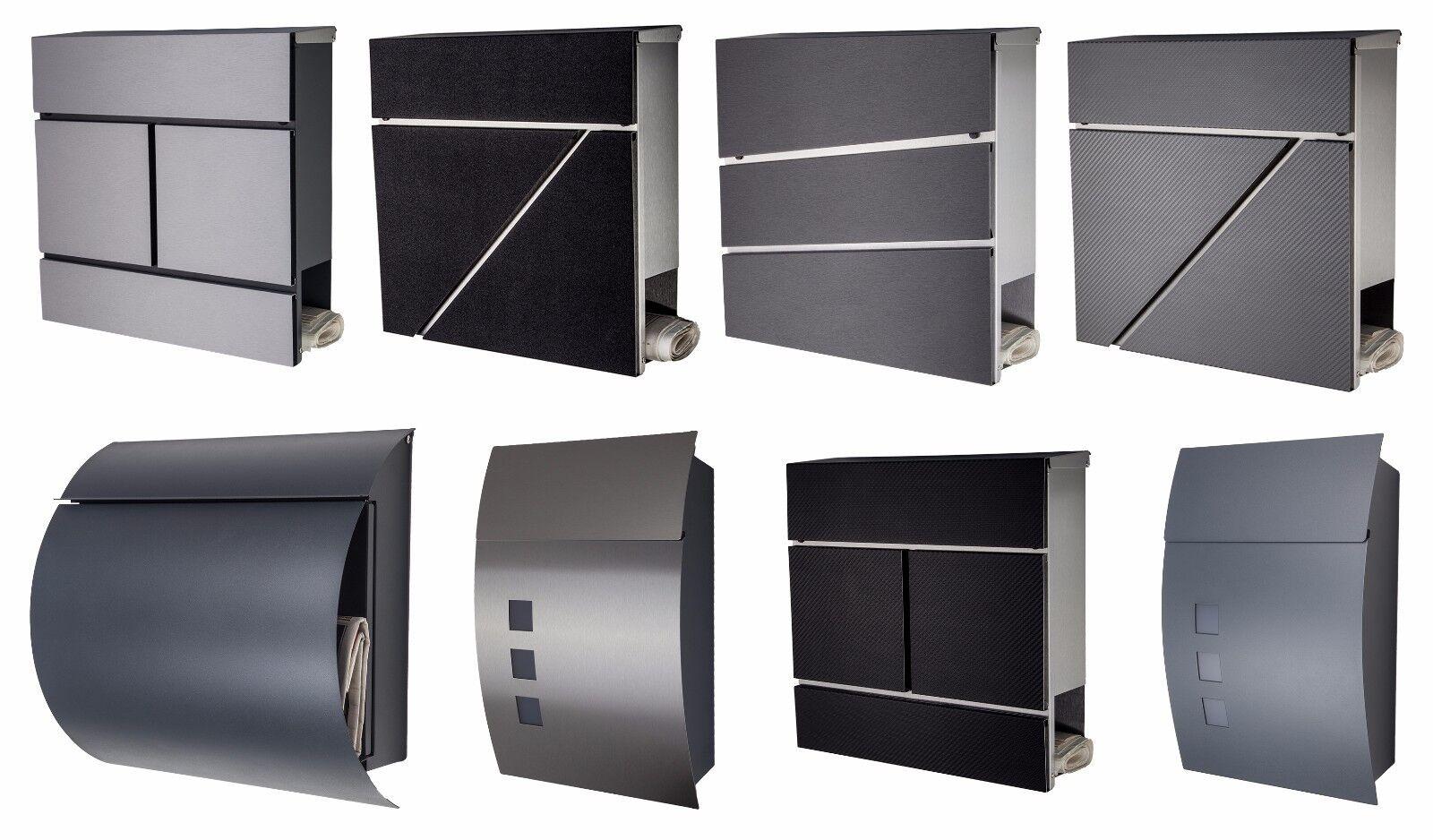 designer briefkasten mailbox edelstahl anthrazit schwarz wei grau neu briefk sten. Black Bedroom Furniture Sets. Home Design Ideas
